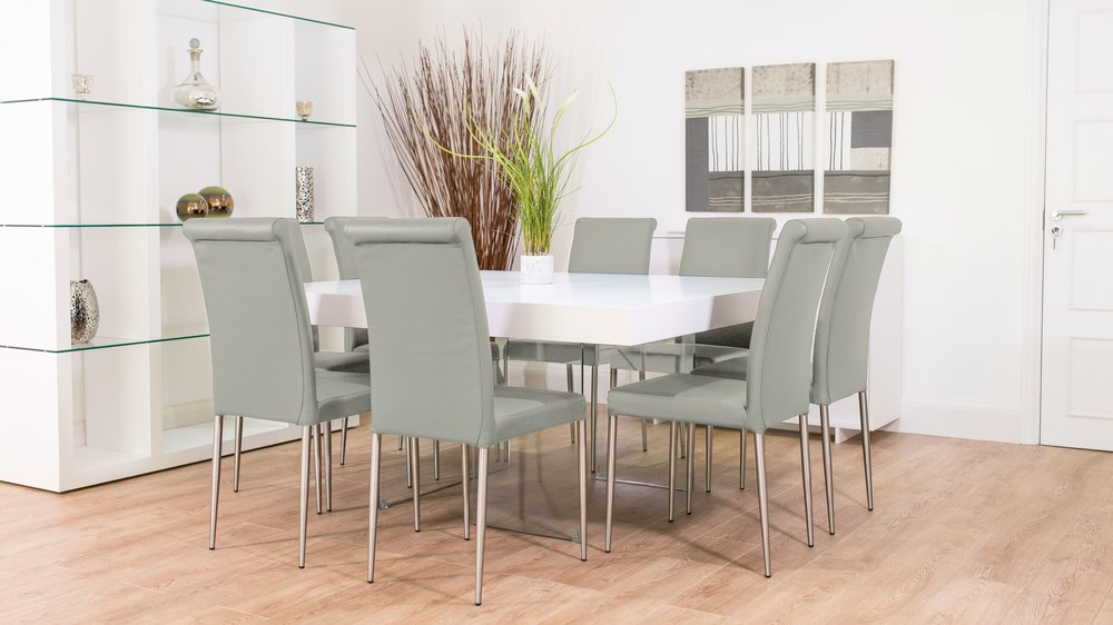 Grey and White Large Dining Set