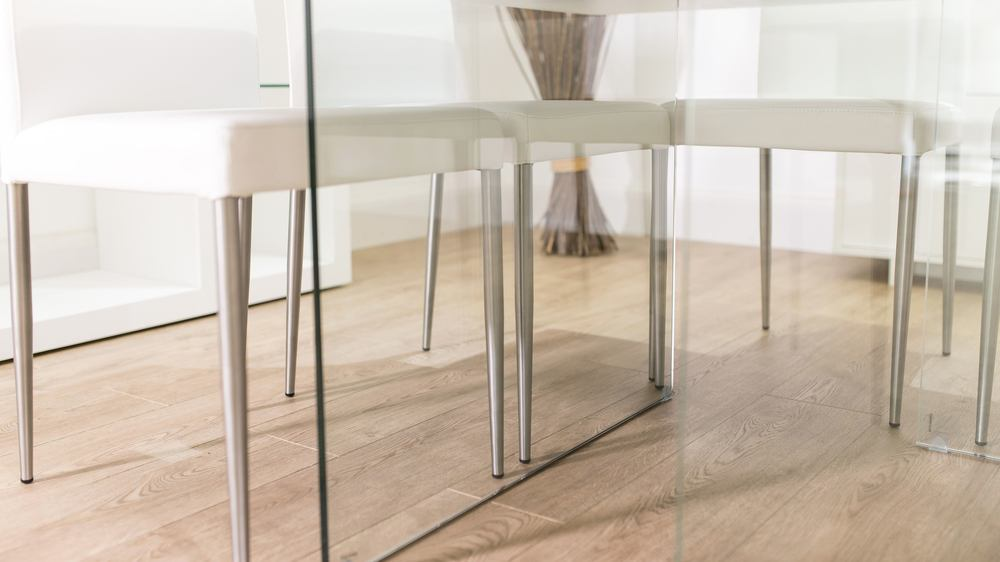 Glass Legged Dining Table and Modern Dining Chairs