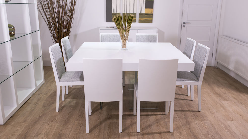 Large Square White Oak Dining Set For 8 Matching Chairs