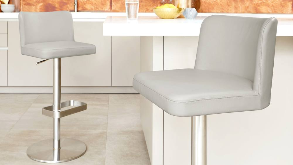Light grey brushed stainless steel gas lift bar stools