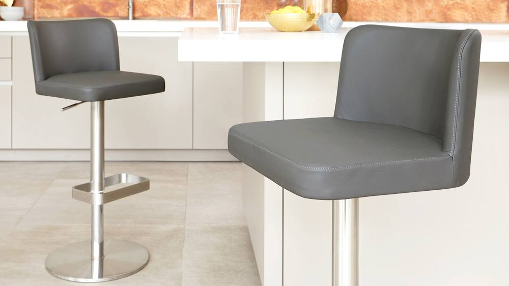 Cushioned real leather bar stools