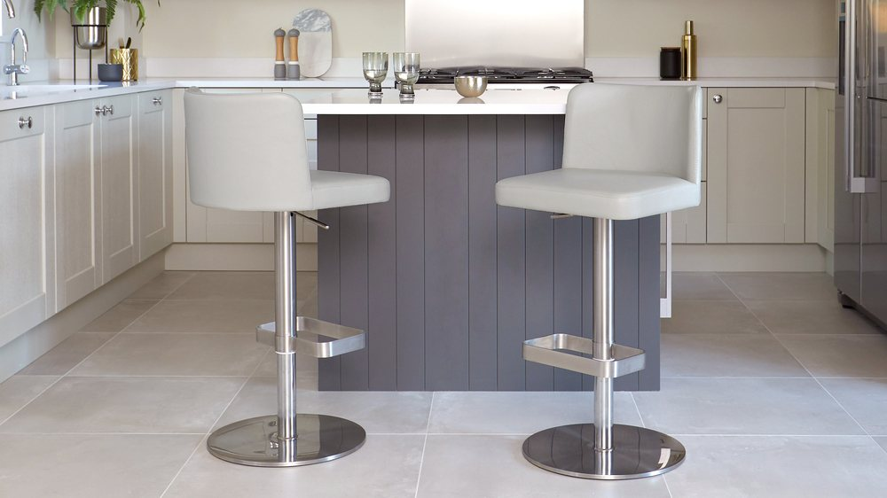 Cool grey real leather quality bar stools