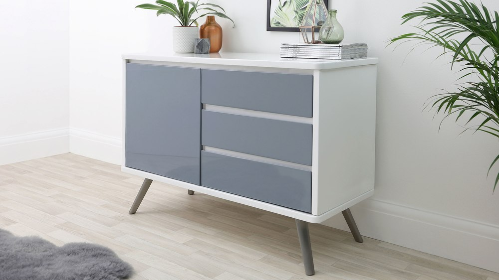 Assi White And Grey Compact Sideboard Uk
