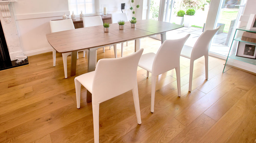 Walnut Extending Dining Table and White Leather Dining Chairs