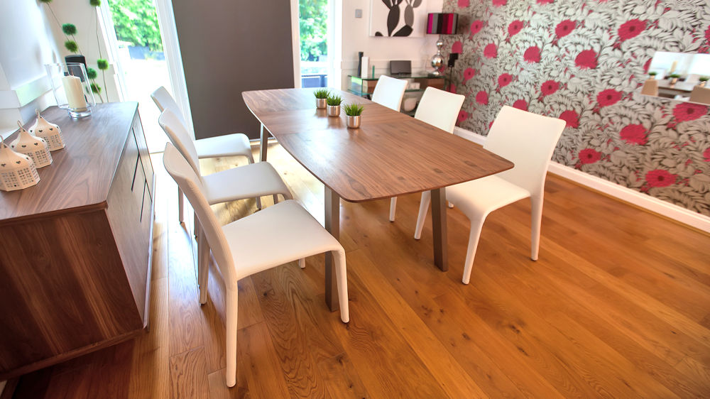 Contemporary White and Walnut Extending Dining Set