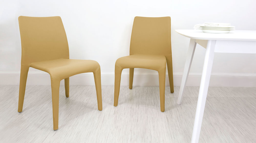 Yellow Faux Leather Dining Chairs