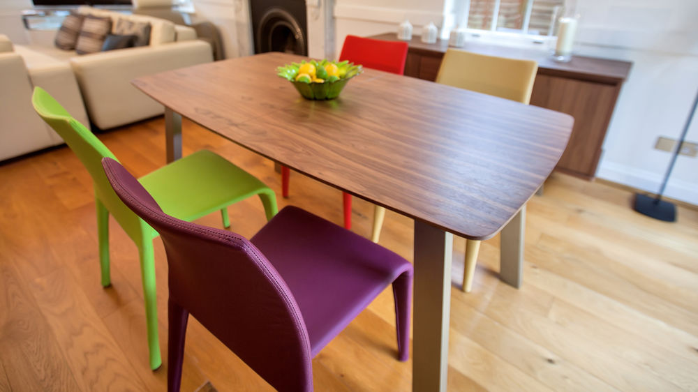 Coloured Dining Chairs and Wood Veneer Extending Dining Table