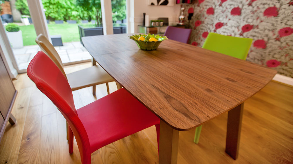 Modern Walnut Extending Dining Set Brightly Coloured Upholstered - Walnut color dining table