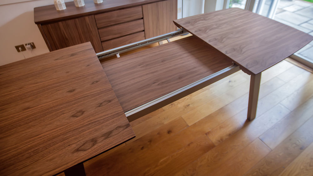 Large Wooden Extending Dining Table with Brushed Metal Legs