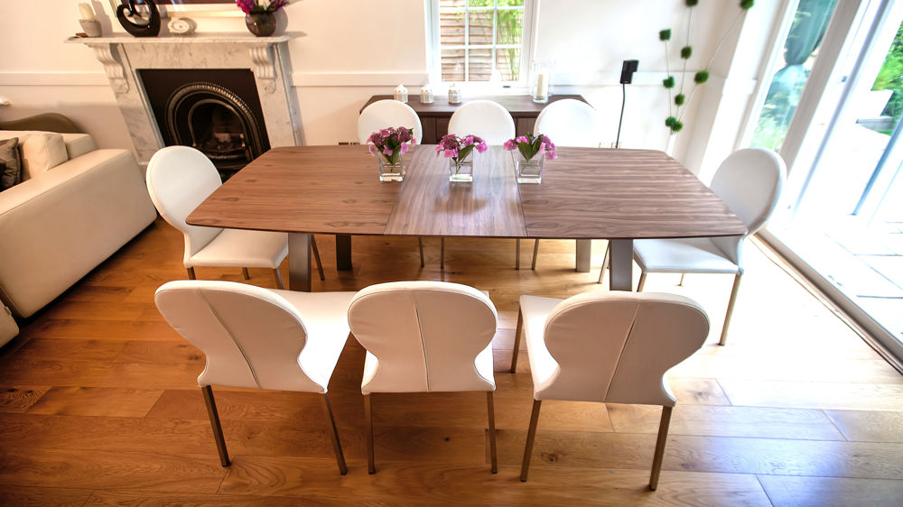 Modern White and Walnut Extending Dining Set