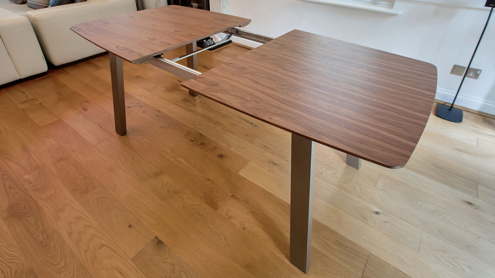 Easy Extending Dining Table with Brushed Metal Legs