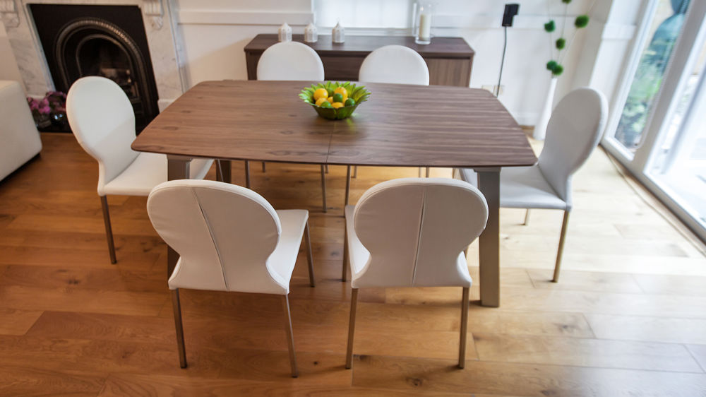 Contemporary White Dining Chairs and Extending Dining Table