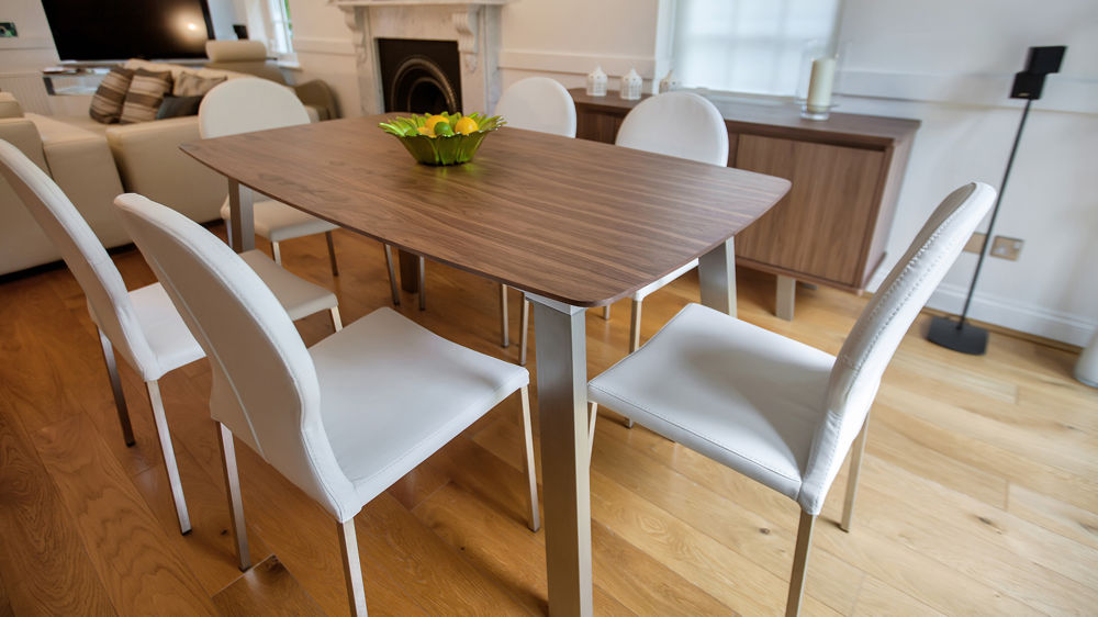 6- 8 Seater Extending Dining Table and White Dining Chairs
