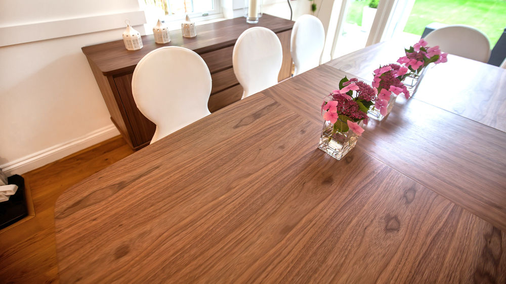 Wood Veneer Extending Dining Table and Leather Dining Chairs