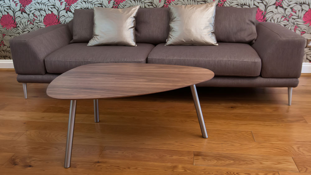 Stylish Coffee Table with Brushed Metal Legs