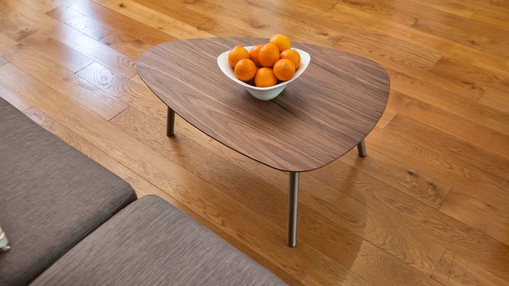 Wood Coffee Table with Brushed Metal Legs