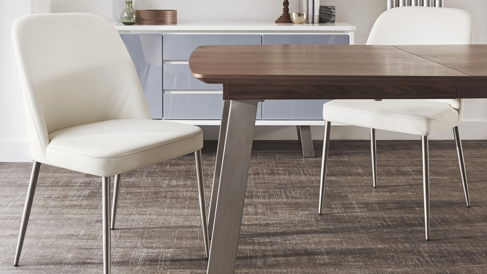 Wood and brushed chrome extending dining table