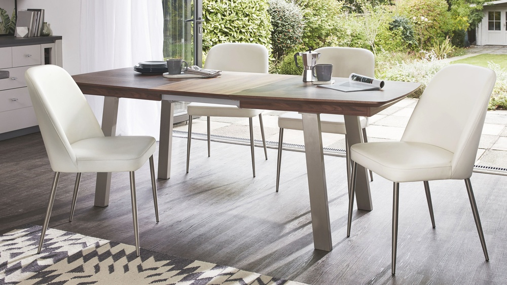 Wooden extending dining table with leather chair set