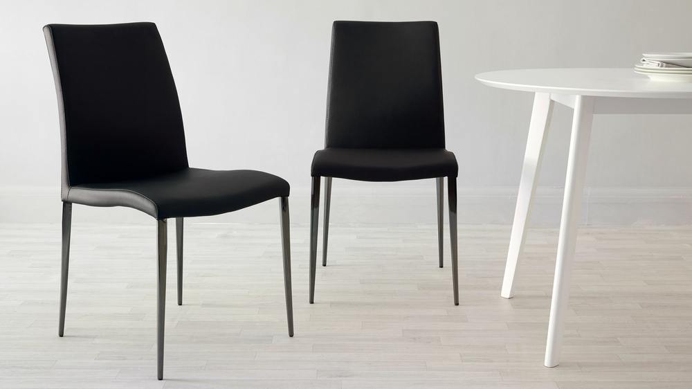 Black faux leather black chrome dining chair