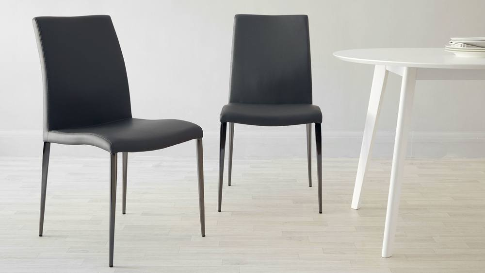 Black chrome dining chair