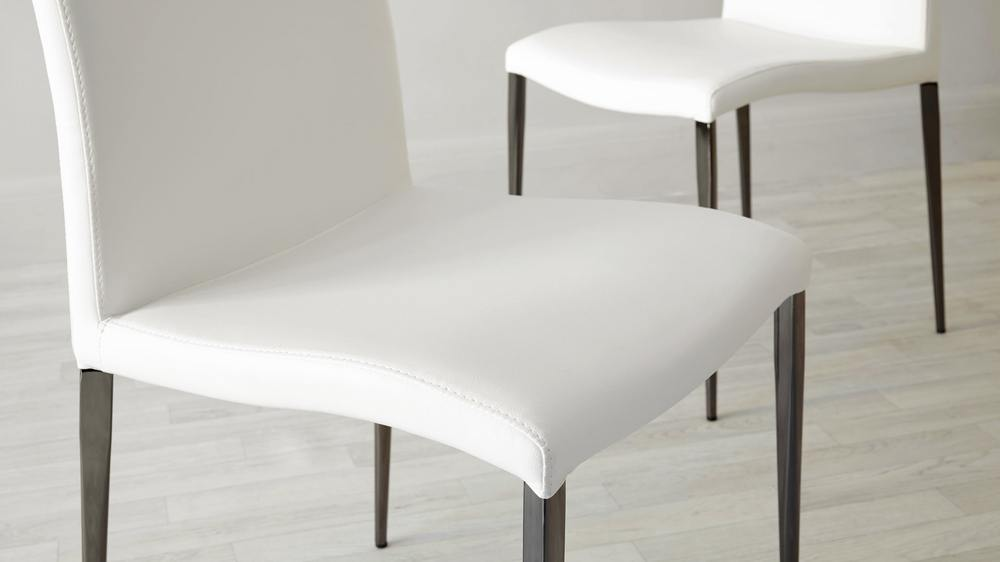 Buy white faux leather dining chairs