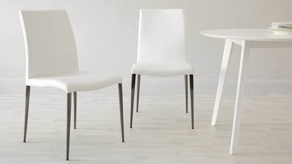 Buy modern black chrome dining chairs