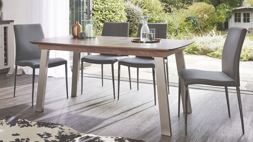 Black chrome dining table set