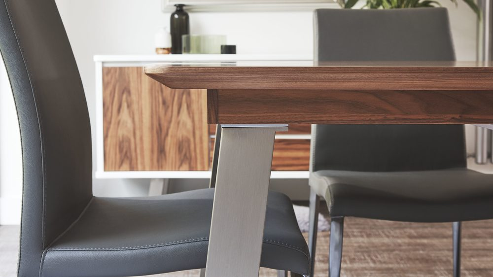 Coloured Dining Chairs with Modern Walnut Wood Extending Dining Table