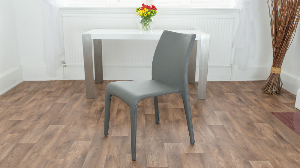 Grey Stackable Faux Leather Dining Chair