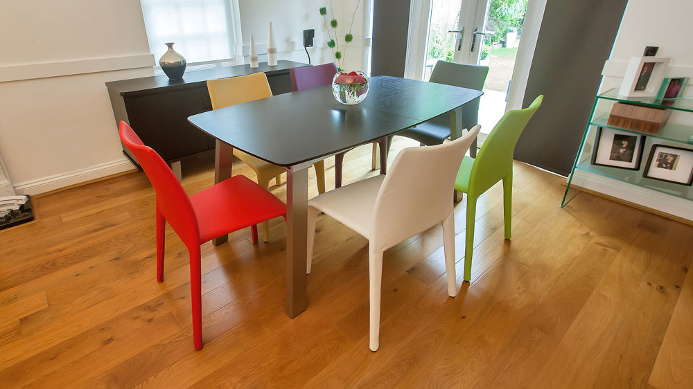 Contemporary Colourful Stackable Dining Chairs and Wenge Large Extending Dining Table