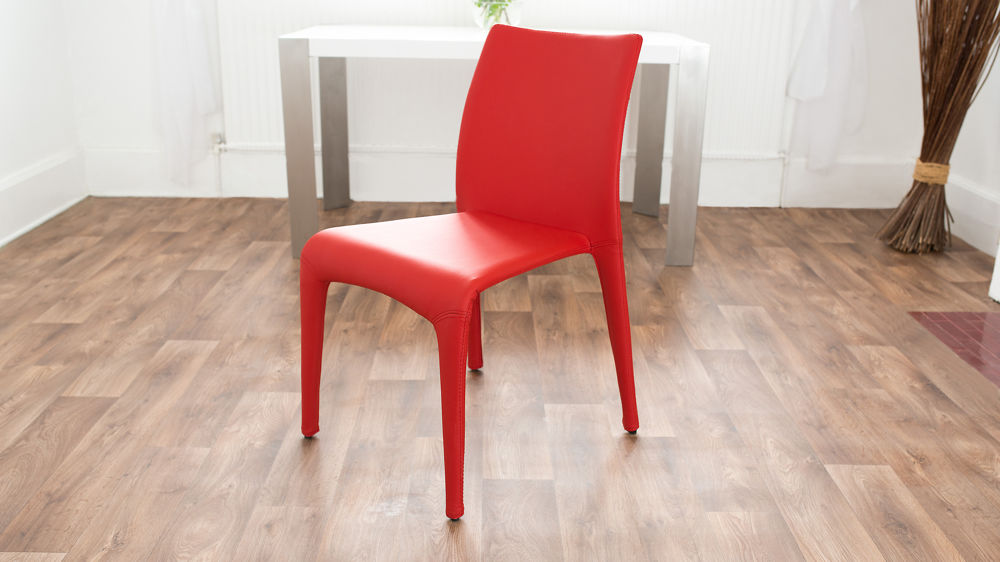 Red Stackable Faux Leather Dining Chair