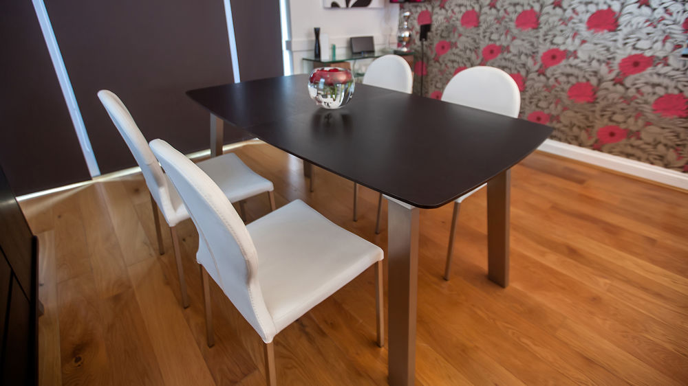 Stylish White and Wenge Veneer Dining Set