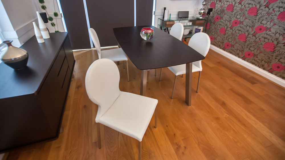 Comfortable White Dining Chairs and Extending Dining Table