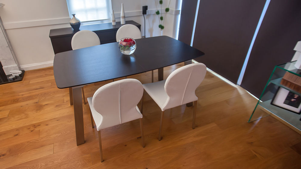 Dark Wood Extending Dining Table and Modern Dining Chairs