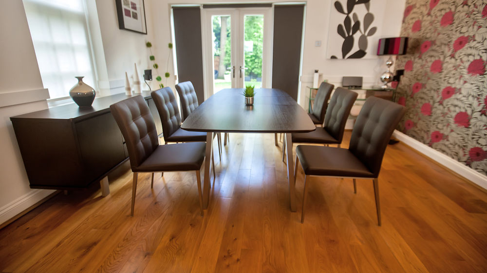Dark Wood Extending Dining Table and Leather Dining Chairs
