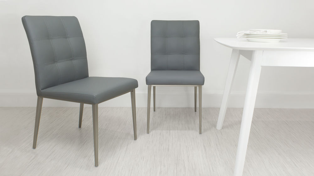Stylish Grey Quilted Dining Chairs