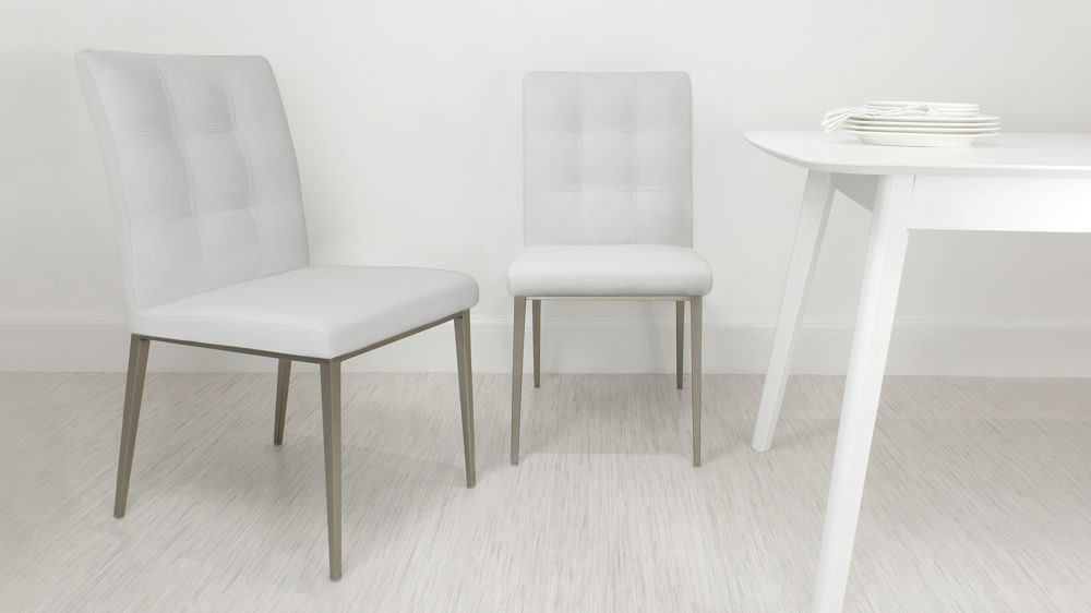 Stylish White Quilted Dining Chairs