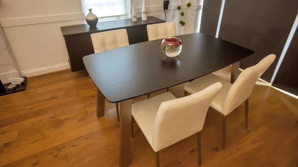 Wenge Extending Dining Table and Quilted Dining Chairs