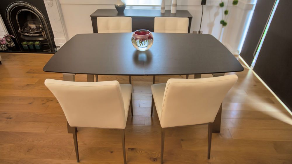 Contemporary 6-8 Seater Extending Dining Table and White Chairs