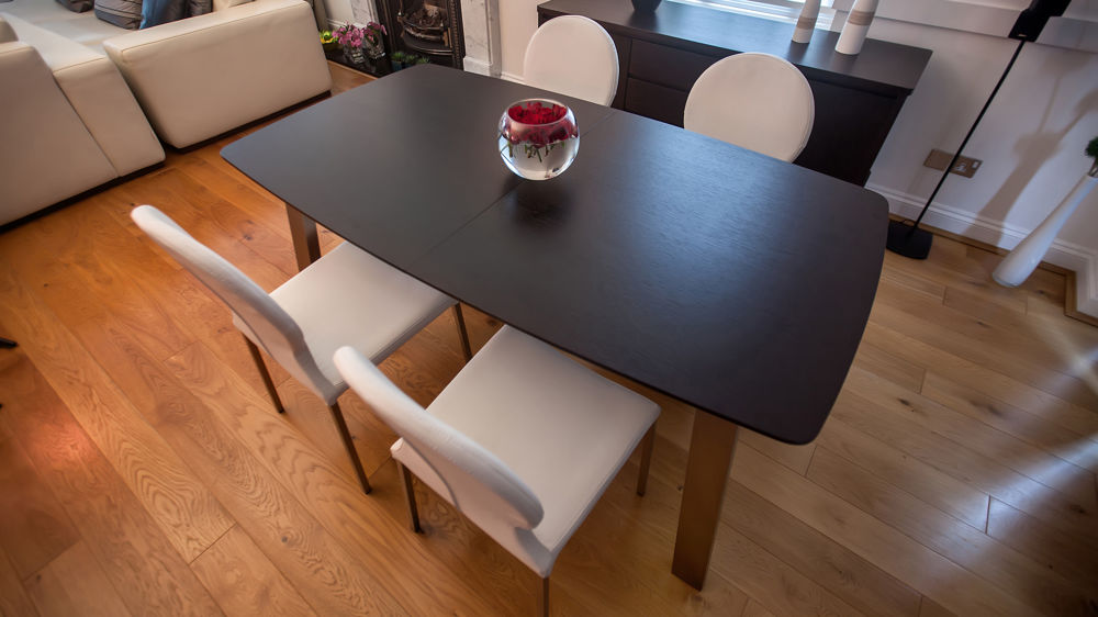 Large Wooden Extending Dining Table and White Dining Chairs
