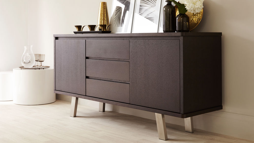 modern dark wood sideboard 2 cupboards 3 drawers uk. Black Bedroom Furniture Sets. Home Design Ideas