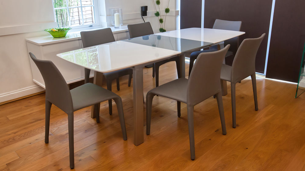 White and Grey Extending Dining Table and Stackable Chairs