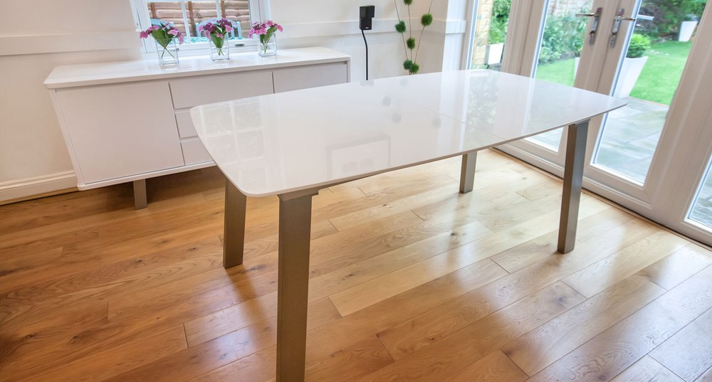 Large White Gloss Extending Table with Metal Legs