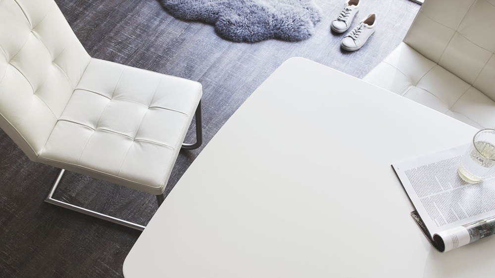 White and grey gloss dining table
