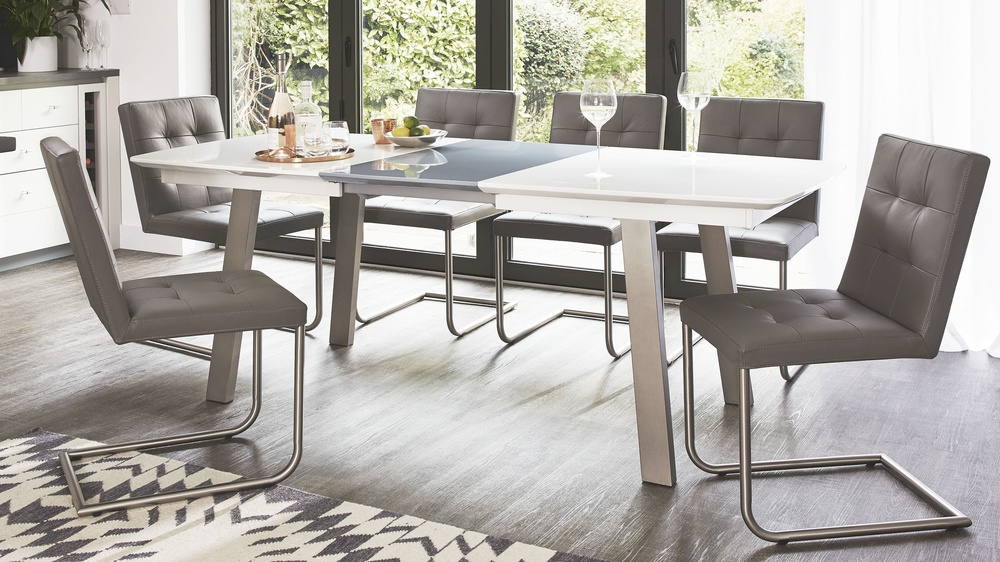 White and grey gloss extending dining table set