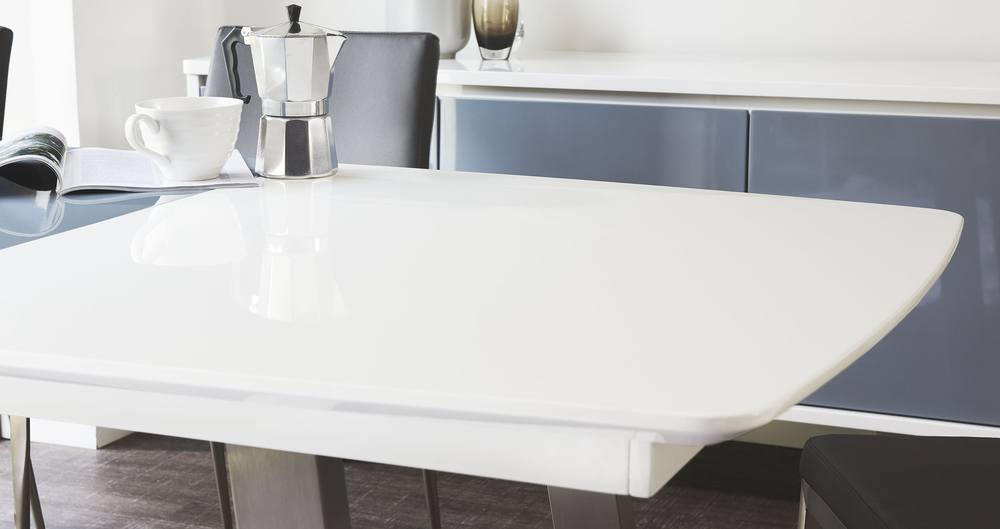 White and grey gloss kitchen extending table