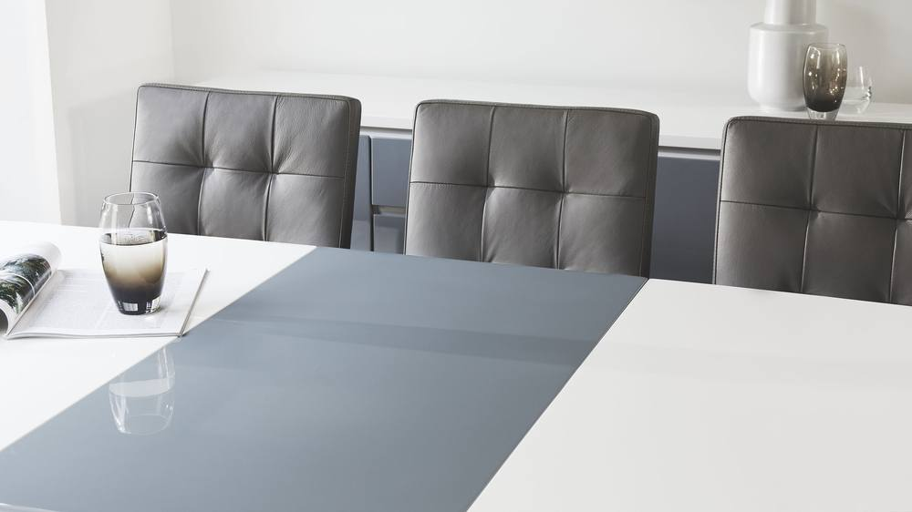 Modern White Dining Table with Grey Extension Leaf