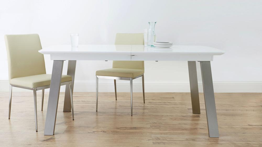 Modern White and Grey Extending Dining Table