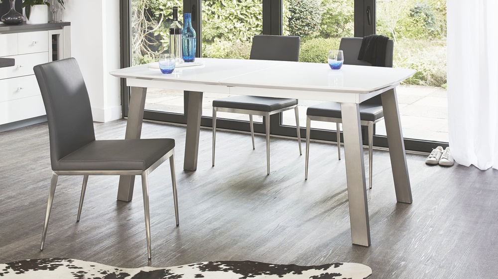 Extending white and grey gloss dining table uk for White extending dining table