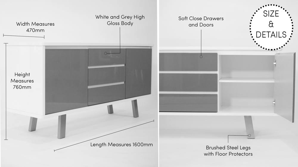 Large White and Grey Gloss Sideboard